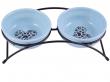 Миски керамические на подставке, 2х290 мл. синие, КерамикАрт