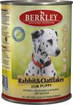 Berkley, консервы для щенков с кроликом и овсяными хлопьями, 400 гр.